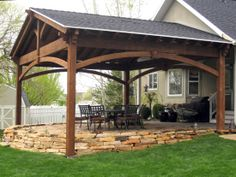 58 Front Yard Outdoor Fireplace Gazebo, Pergola In U . Deck With Pergola, Pergola Patio, Backyard Patio, Patio Awnings, Screened Gazebo, Wisteria Pergola, Pergola Carport, Corner Pergola, Small Pergola