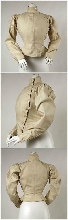 Fencing jacket, American or European, c. 1904, at the Metropolitan Museum of Art.