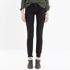 "Madewell skinny skinny black denim worn once but they're a little long for me because I like to show my ankles. inseam 29"". perfect condition. no trades Madewell Jeans Skinny"