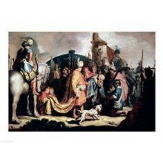 David Offering the Head of Goliath to King Saul Canvas Art - Rembrandt van Rijn (36 x 24)