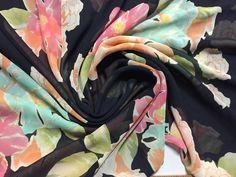 "100% Silk Chiffon Floral Print, Pink, Blue, Green and Cream on a Black background, 1 7/8 yard piece, 45"" wide by PromenadeFabrics on Etsy"