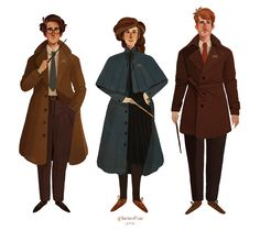 Grown-up Harry, Hermione and Ron