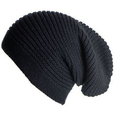 Black Cashmere Slouch Beanie Hat found on Polyvore