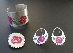 """""""abu"""" earrings, bracelet and pin jewellery by Maria Solorzano: hand made. on sale"""