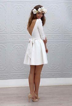 Simples e curto Vestido de noiva Cute Bridal Shower Dress