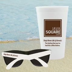 2 piece fun kit, contains 22 oz. US made stadium cup (Red, Blue, Black, White, Green, Orange, Yellow & Clear) a pair of sunglasses (red, blue, yellow, black, white, green, pink, purple, orange arms) packaged in the stadium cup and poly bagged. 1 color imprint per piece included. 7 day regular production. 3 day rush available.