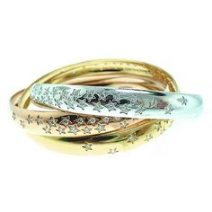 Cartier limited edition 100th anniversary (2009) Trinity bangle bracelet in 18k rose, white & yellow gold with diamonds