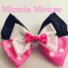 Minnie Mouse Themed Bow by DisneyLizzieWorkshop on Etsy https://www.etsy.com/listing/256333897/minnie-mouse-themed-bow