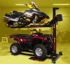garage organization; lift for skidoos