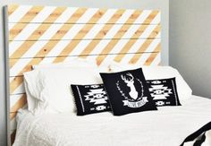 Striped headboard + great pillows