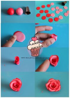 fondant rose tutorial - by - but great idea for polymer clay roses! Cake Decorating Techniques, Cake Decorating Tutorials, Cookie Decorating, Fondant Icing, Fondant Cakes, Cupcake Cakes, Car Cakes, Frosting, Rose Cupcake