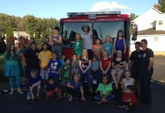 VBS Kids at Scoops with Fire Fighters