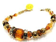 Topaz Swarovski crystal vintage filigree bracelet by jlisiecki, $20.00