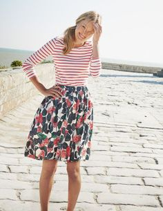 Women's fashion | Striped shirt and floral midi skirt