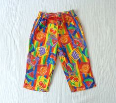80s/early 90s neon fruit pants 3T Brightly by LazerBabyVintage, $12.00