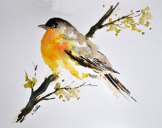 ORIGINAL Watercolor Painting, Colorful Yellow Bird Art 6x8 inch