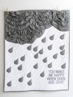 Super cute! Love the scrunchy clouds! Gray Skies Quilt PDF (available on etsy by Vintage Clothespin)
