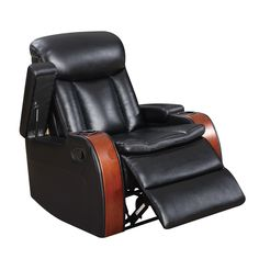 Global Cherry Wood and Black Leather Gel Blanche Recliner (Recliner Blanche Black W/ Cherry Wood)