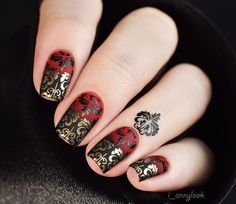 MoYou London Fashionista 08 Red/black gradient, with matt topcoat, then black/gold stamping, no topcoat.