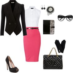 Pink pencil skirt with black and white