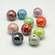 10mm 100pcs Pearlized Blue Red Green Aqua-marine Handmade Porcelain Clay Ceramic Jewelry Making DIY Loose Ball Round Beads