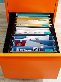 I need those concertina file folders. Tip for de-cluttering when you are feeling overwhelmed, 5 minutes at a time - file folder organizing.