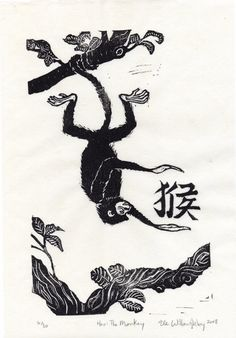 Hou The Monkey  Linocut 9th in Chinese Zodiac  by minouette, $25.00