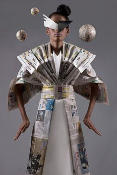 """Manuel Minino""""s Newspaper Dress from his """"Paper Dolls"""" Collection Recycled Costumes, Recycled Dress, Recycled Art, Recycled Clothing, Newspaper Art, Newspaper Dress, Paper Fashion, Fashion Art, Paper Clothes"""
