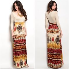 """SALEBeautiful warm hues maxi dress, M or Large This maxi dress is gorgeous...warm fall hues  0-small Medium large   Small bust 30-42 waist 26-28 hips up to 38  Medium bust 32-34 waist 28-30 hips stretch up to 40   Large bust 34-36 waist 30-32 hips up to 42  95% polyester/5% spandex  EXCELLENT QUALITY  NWOT  3/4"""" sleeves    LOW scooped neckline  length from top of shoulder down 60"""" Boutique Dresses Maxi"""