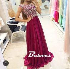 Burgundy Beaded Cap Sleeves Chiffon Prom Dress With V Back