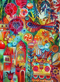 Trademark Global Oxana Ziaka 'Summer Cat' Canvas A - Murales Pared Exterior Art Hippie, Bohemian Art, Boho, Art Fantaisiste, Ouvrages D'art, Art Et Illustration, Arte Pop, Mexican Folk Art, Art Design