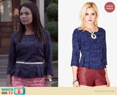 Mona's blue leopard print peplum top and pink floral jeans on Pretty Little Liars.  Outfit Details: http://wornontv.net/36626/ #PLL