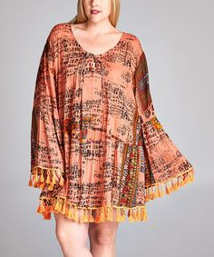 Love this Coral & Cocoa Geometric Bell-Sleeve Tunic Dress - Plus on #zulily! #zulilyfinds