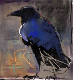 """Crow by Dawn Emerson...R"""" is for Raven"""" 12""""h x 10""""w mixed media SOLD"""