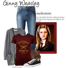 Ginny Weasley by charlizard on Polyvore featuring Cacharel, Moschino, Converse, harrypotter, ginnyweasley and weasley