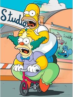 The Simpsons: Homer Simpson and Krusty The Clown Cartoon Wallpaper, Simpson Wallpaper Iphone, The Simpsons, Krusty Der Clown, Cartoon Art, Cartoon Characters, Los Simsons, Old Posters, Best 90s Cartoons