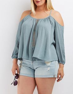 Plus Size Crochet-Inset Cold Shoulder Top