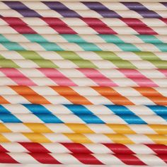60 Paper Straws RAINBOW Assortment  Striped by ThePartyFairy, $10.00