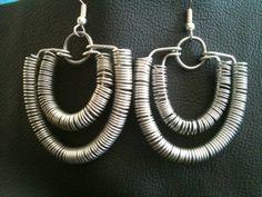 Coiled double hoop wire wrapped earrings handcrafted design by BLLstudio,