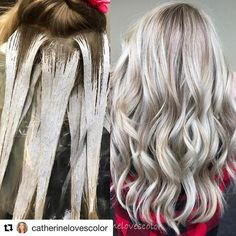 #Repost @catherinelovescolor ・・・ Balayage application and finished Paint was @oligopro black light clay lighter with cool toned mixed in , 40 vol with @olaplex no heat. Babylights around face with cool tone 20 vol with splash of olaplex ❤