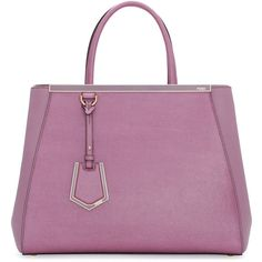 Fendi 2Jours Saffiano Shopping Tote Bag ($2,485) ❤ liked on Polyvore featuring bags, handbags, tote bags, lilac, fendi, lilac handbag, purple handbags, fendi handbags and fendi tote bag