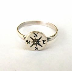 Compass ring sterling silver  Sale. - FREE ENGRAVING  Outside only - Custom on Etsy, $28.99