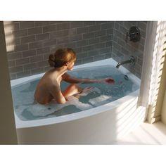 "Kohler K-1118-LA-0 Expanse 5 ft. Alcove Curved Apron Front Soaking Bath Tub with Tile Flange and Left Hand Drain, 60"" L x 30"" W x 17"" H White - eFaucets.com"