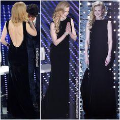 Nicole Kidman in a custommade black velvet Giorgio Armani gown for the San Remo Festival! Feb2016