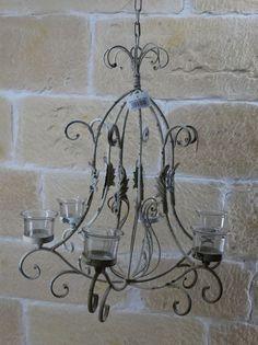 Details Zu Kronleuchter Vintage Creme Shabby LandhausTeelichthalter Decken  4 Antik Eisen