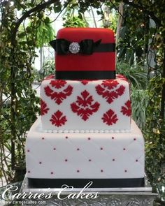 Red white and black square cake.