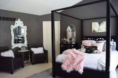 Contempo Trellis Modern Wall Stencils from Royal Design Studio - Bedroom Makeover by Haneen Matt Dream Bedroom, Home Decor Bedroom, Bedroom Black, Diy Bedroom, Black Bedrooms, Large Bedroom, Bedroom Decor For Teen Girls Dream Rooms, Bedroom Ideas For Women In Their 20s, Black And Silver Bedroom