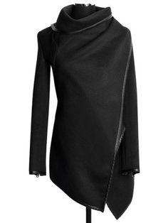Stylish Turtle Neck Long Sleeve Asymmetrical Women's Coat http://www.rosegal.com/coats/stylish-turtle-neck-long-sleeve-144172.html