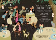 My wedding invitation I did with my graphic design friend, Esther Choi! Inspired by Aurelius Battaglia's golden books*