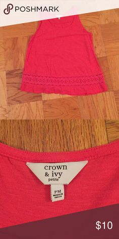 Crown and Ivy women's pink tank top size PM Pink Crown and Ivy women's tank top in pink. Size petite Medium. Bottom of shirt has a lace detail. Never worn! Crown and Ivy Tops Tank Tops